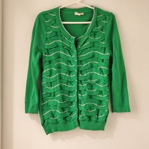 Anthropologie green button up cardigan sz small